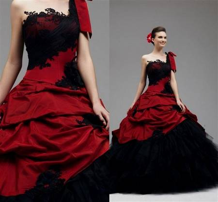 red and black lace ball gown