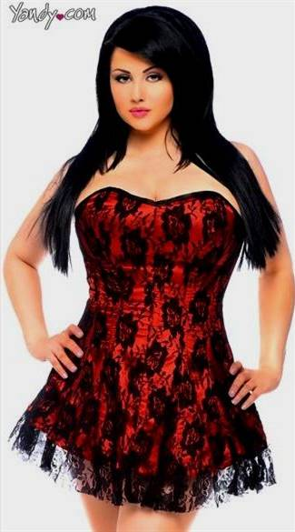 red and black lace corset dress