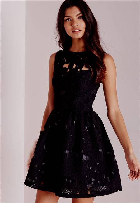 red and black lace skater dress