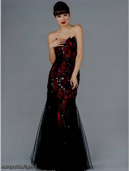 red and black mermaid dress