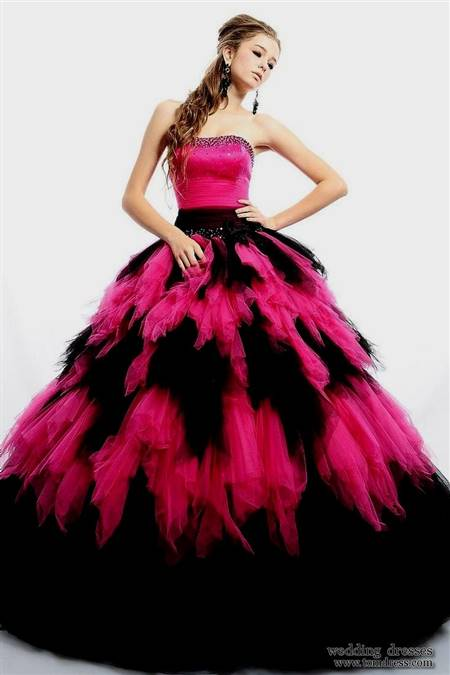 red and black puffy prom dress