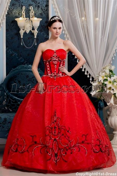 red and black quinceanera dresses