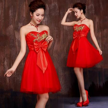 red and gold bridesmaid dresses