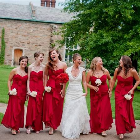 red and gold combination bridesmaid dresses
