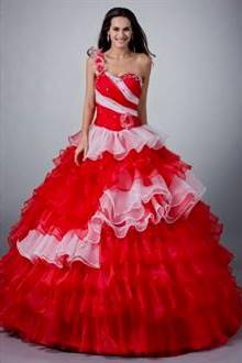red and white ball gown