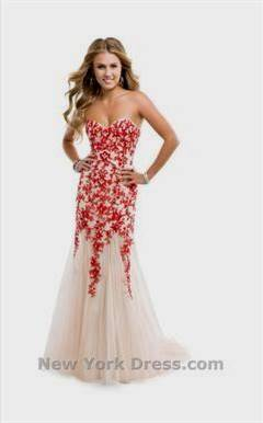 red and white lace prom dress