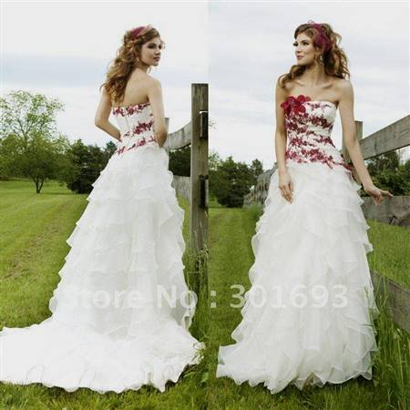 red and white lace wedding dresses