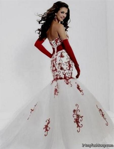 red and white mermaid wedding dresses