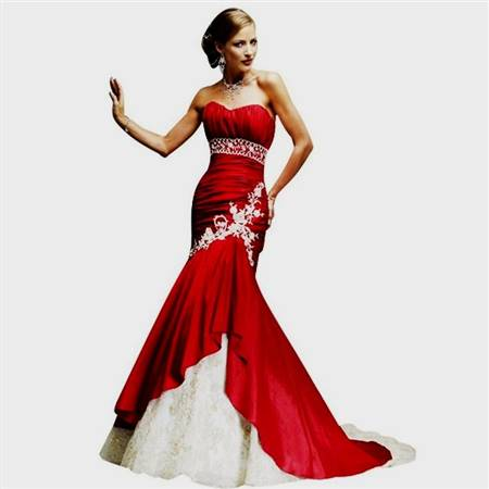 red and white prom dress