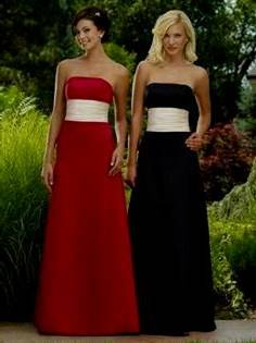 red and white strapless bridesmaid dresses