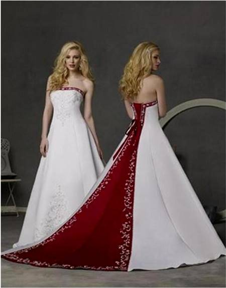 red and white wedding dresses with sleeves