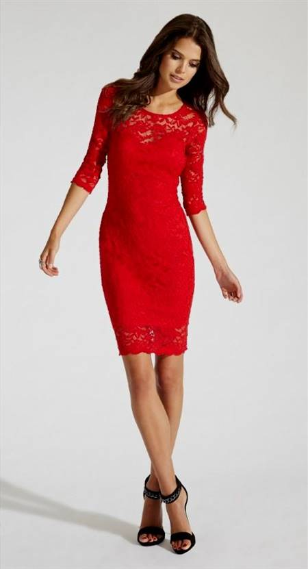 red dresses with lace sleeves