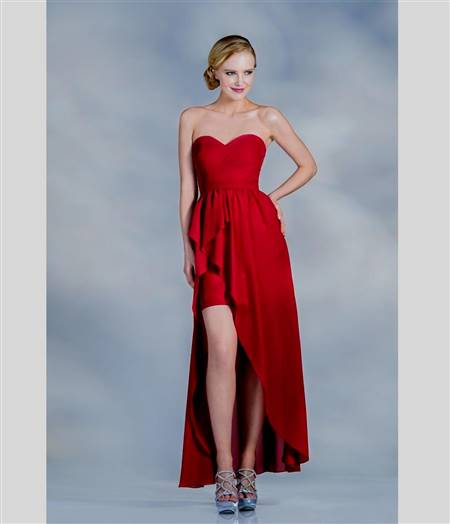 red high low prom dresses