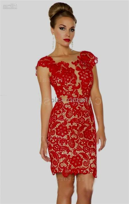 red lace cocktail dresses