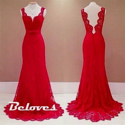 red lace gown with open back
