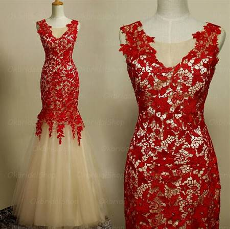 red lace mermaid prom dresses