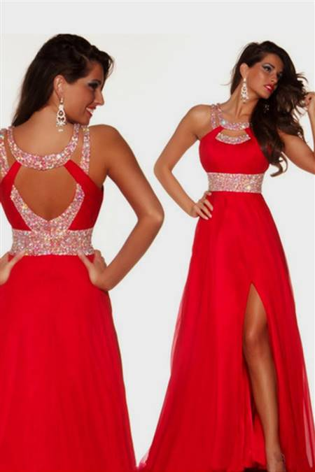 red lace prom dresses