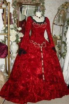 red medieval ball gowns