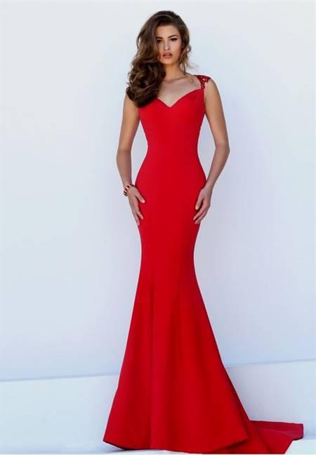 red mermaid dress with sleeves