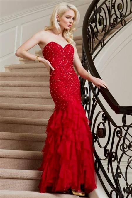 red mermaid prom dress