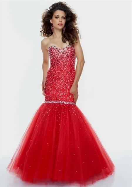 red mermaid prom dresses