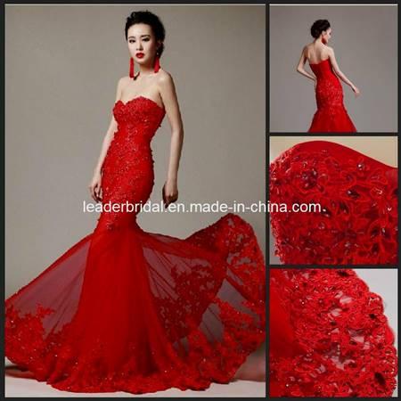 red mermaid wedding dress