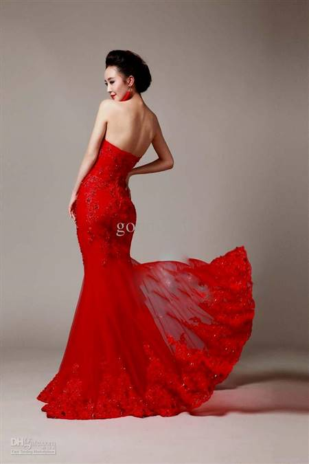 red mermaid wedding dress