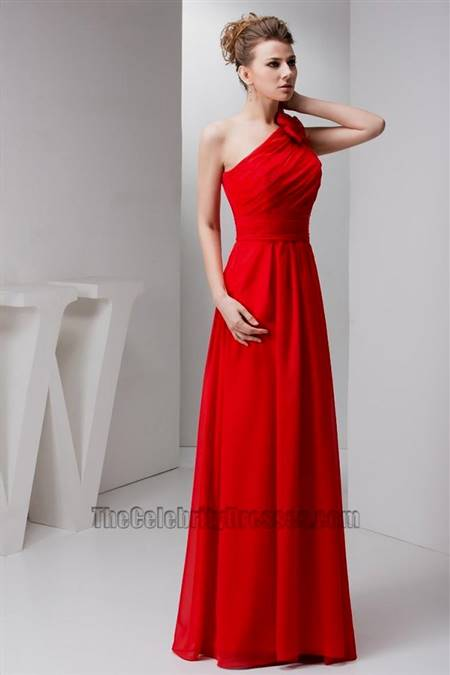 red one shoulder bridesmaid dresses