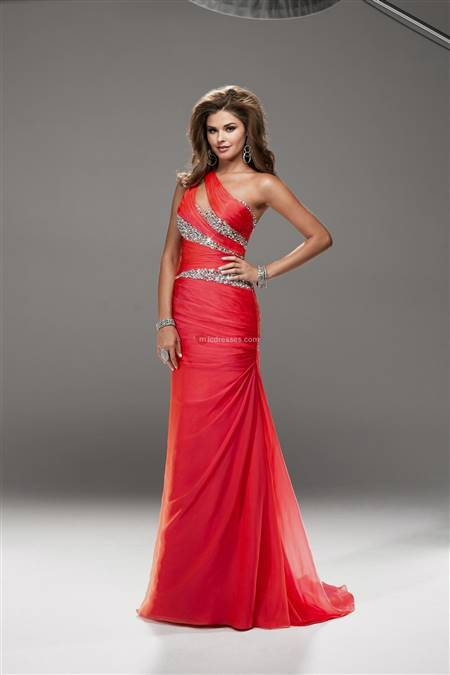 red one shoulder prom dress