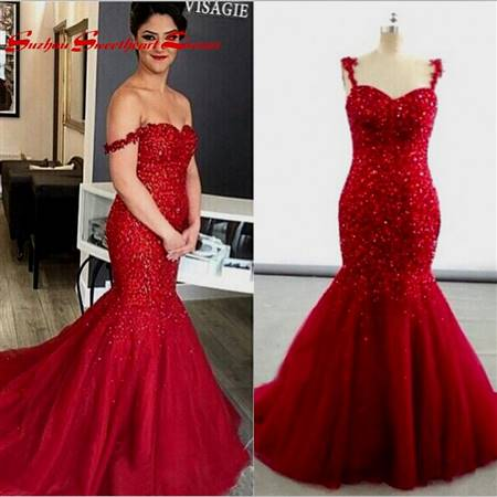red sparkly mermaid prom dress