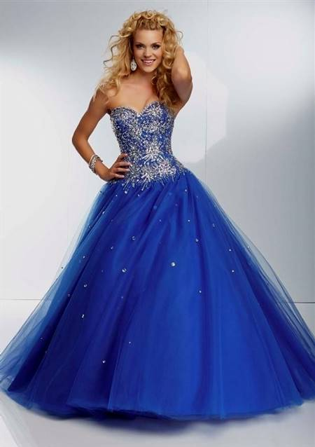 royal blue ball gown prom dresses