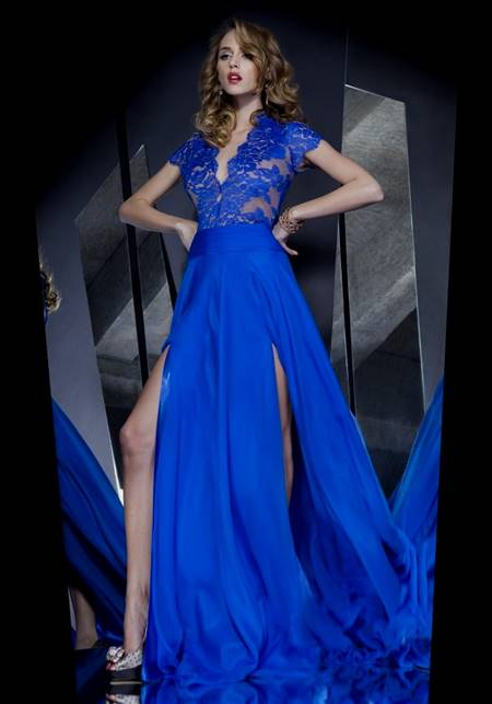 royal blue lace prom dresses