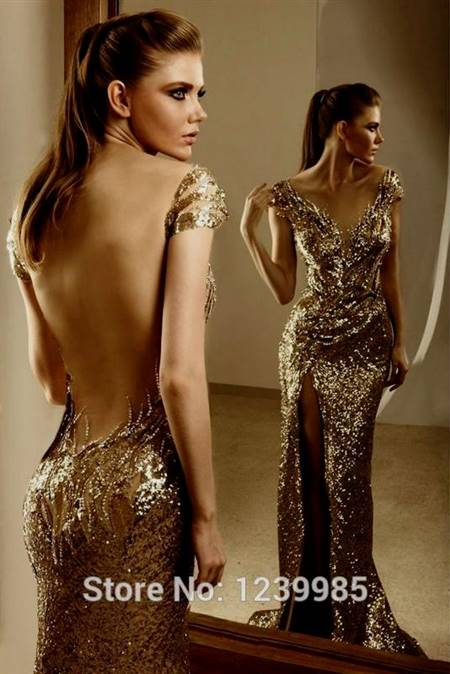 sexy gold prom dresses