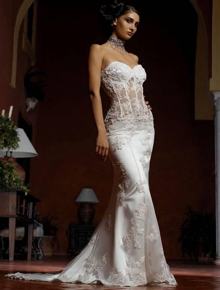 sheer bodice wedding dress