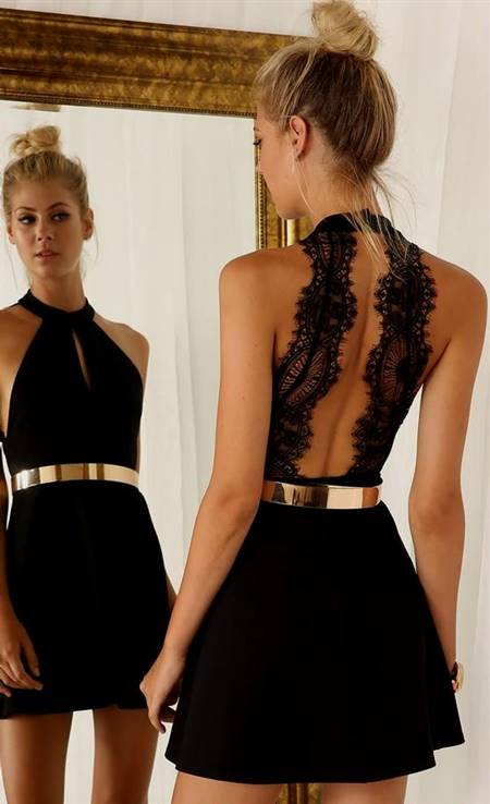 short black lace dress open back