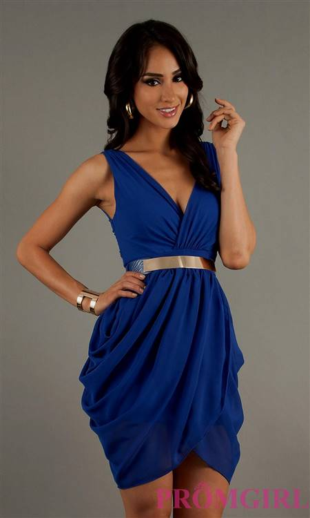 short blue dresses with sleeves