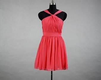 short chiffon coral bridesmaid dresses