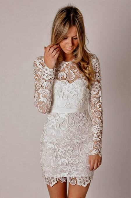 short lace wedding dress with long sleeves