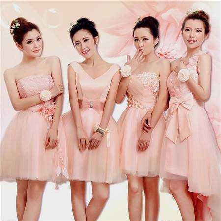 short pink bridesmaid dresses with lace