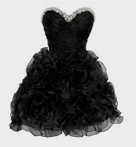 short poofy black prom dress