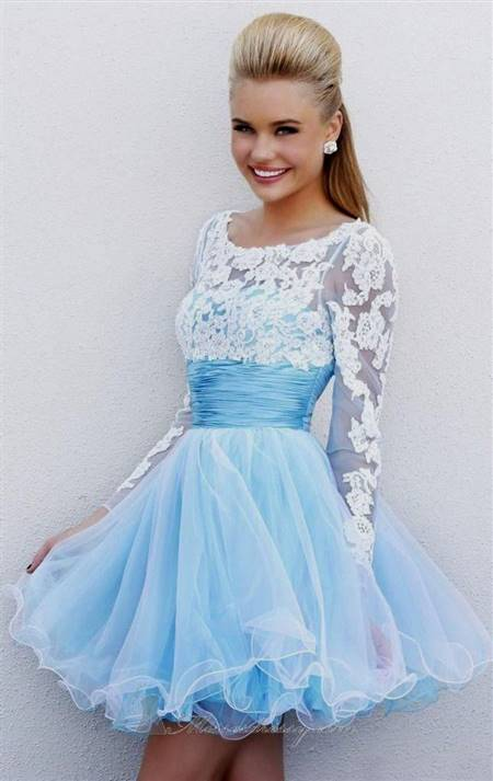 short prom dress with lace sleeves