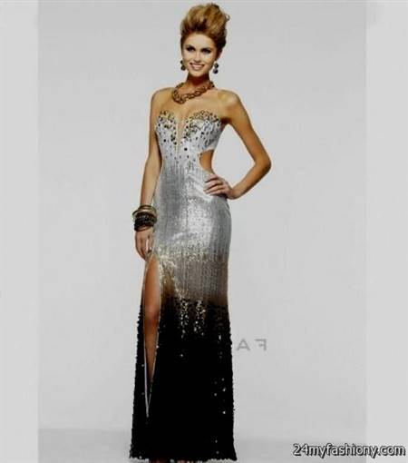 silver and black prom dresses