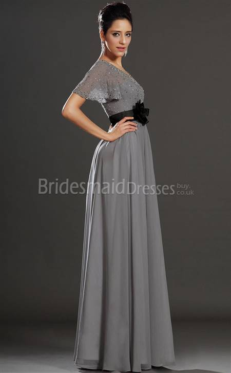 silver bridesmaid dresses with sleeves