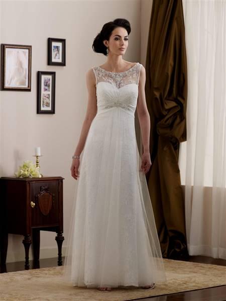 simple a line lace wedding dress
