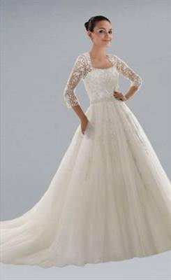 simple a line wedding dress with sleeves