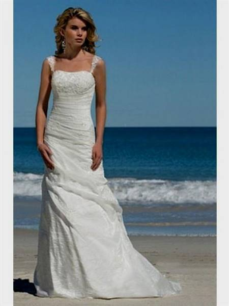 simple a line wedding dress with straps