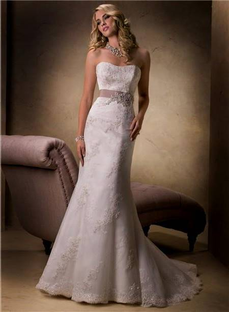 simple strapless lace wedding dress