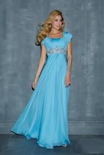 sky blue gowns with sleeves