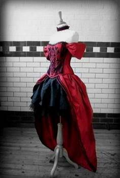 steampunk wedding dress red