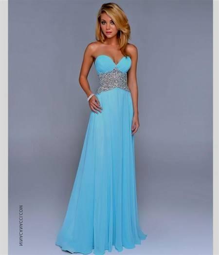 strapless blue prom dresses